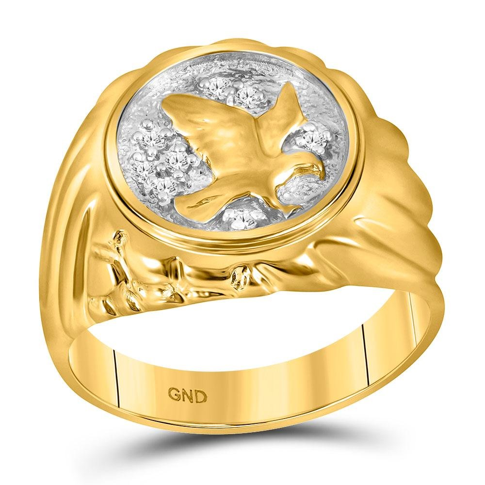 10kt Yellow Gold Mens Round Diamond Cluster Eagle Bird