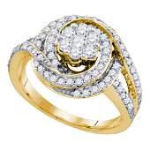 10kt Yellow Gold Round Diamond Flower Cluster Bridal