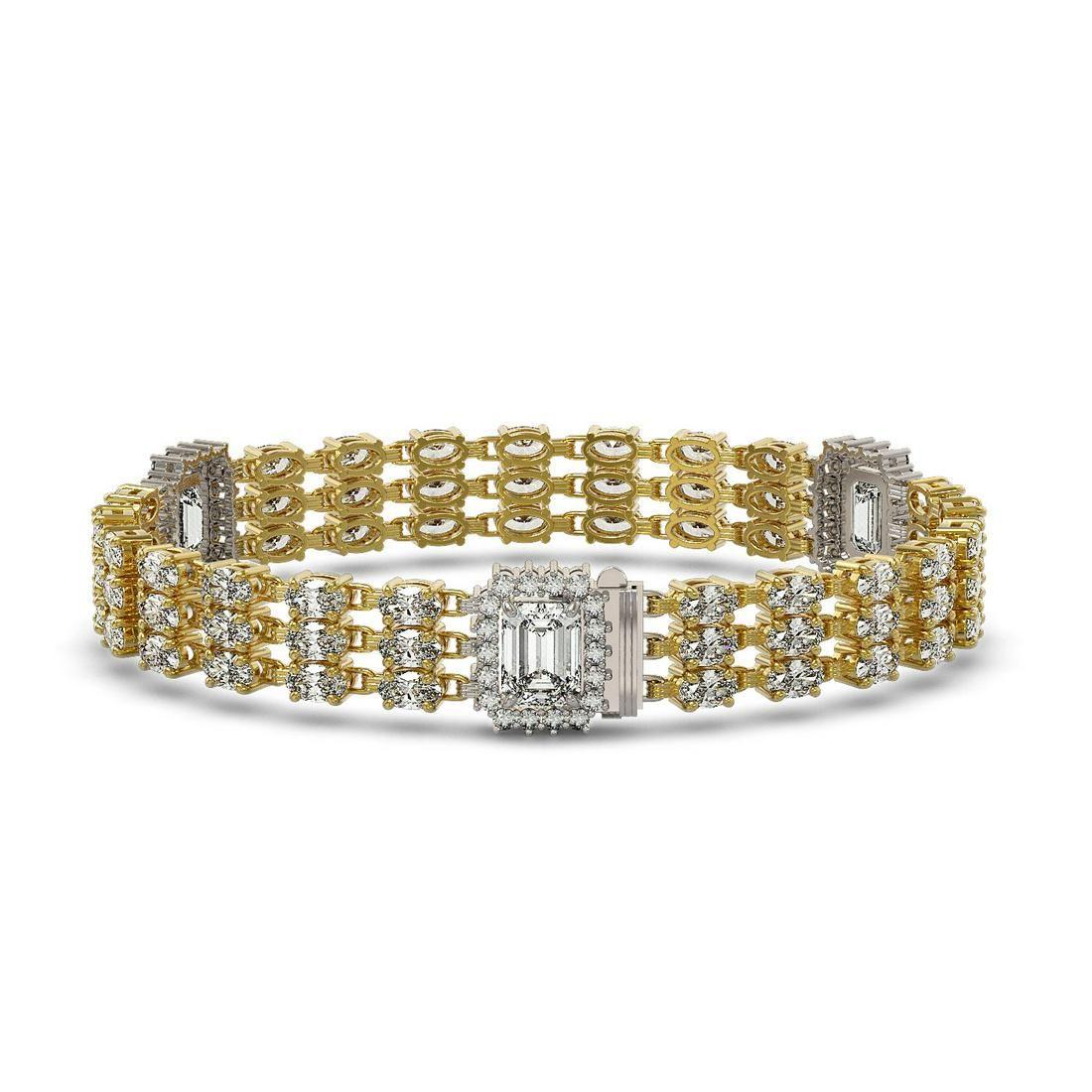 18.96 ctw Emerald Cut & Oval Diamond Bracelet 18K