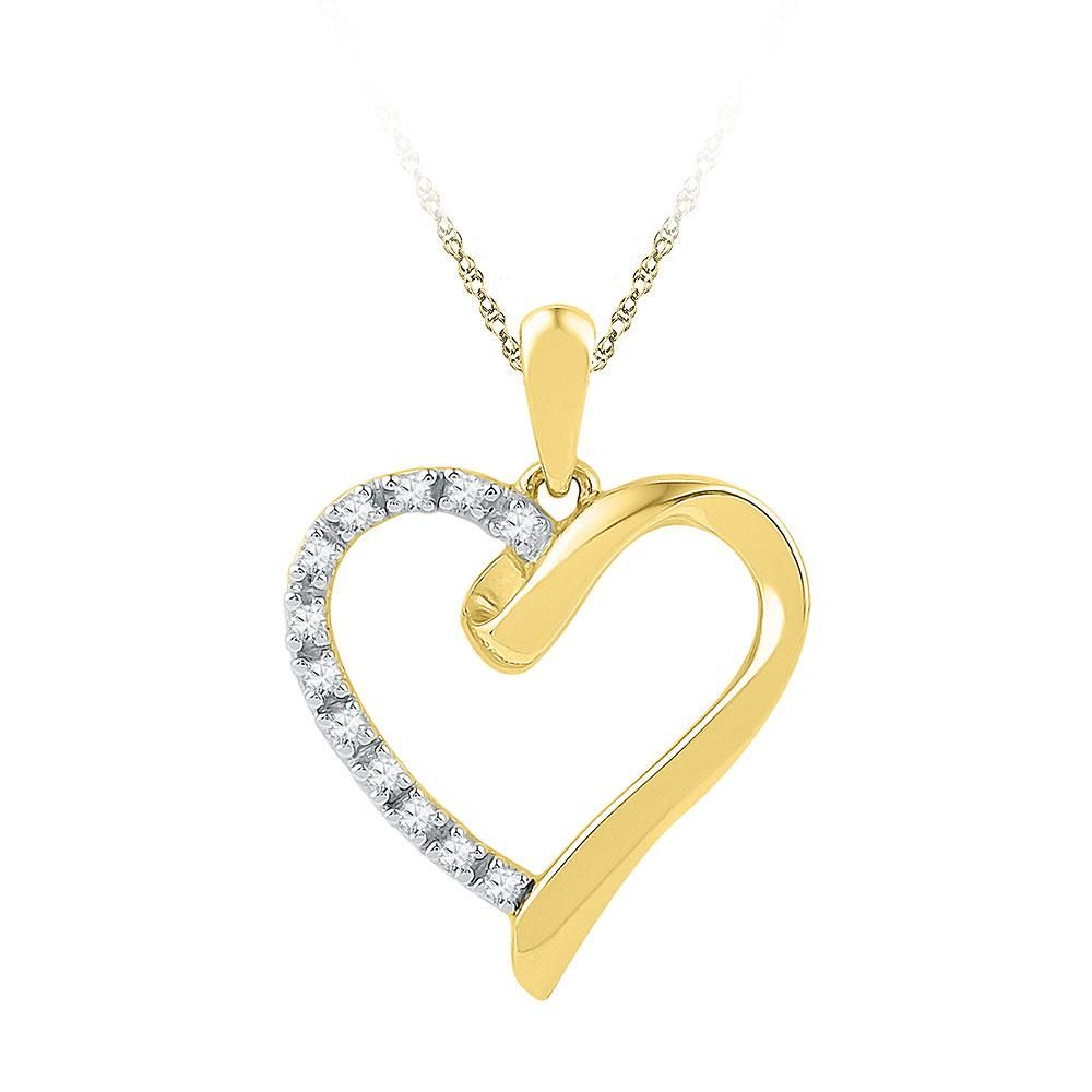 10kt Yellow Gold Womens Round Diamond Heart Pendant