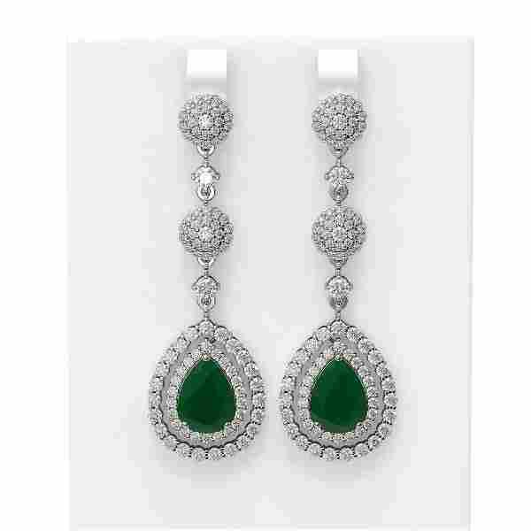 11.87 ctw Emerald & Diamond Earrings 18K White Gold