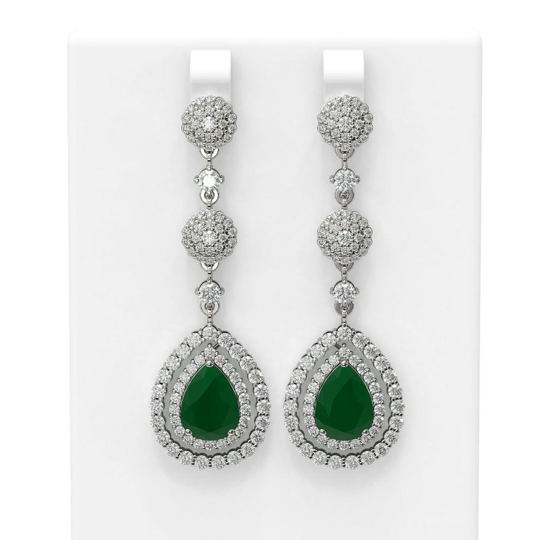 11.87 ctw Emerald & Diamond Earrings 18K White Gold