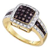 10kt Yellow Gold Womens Round Brown Diamond Cluster