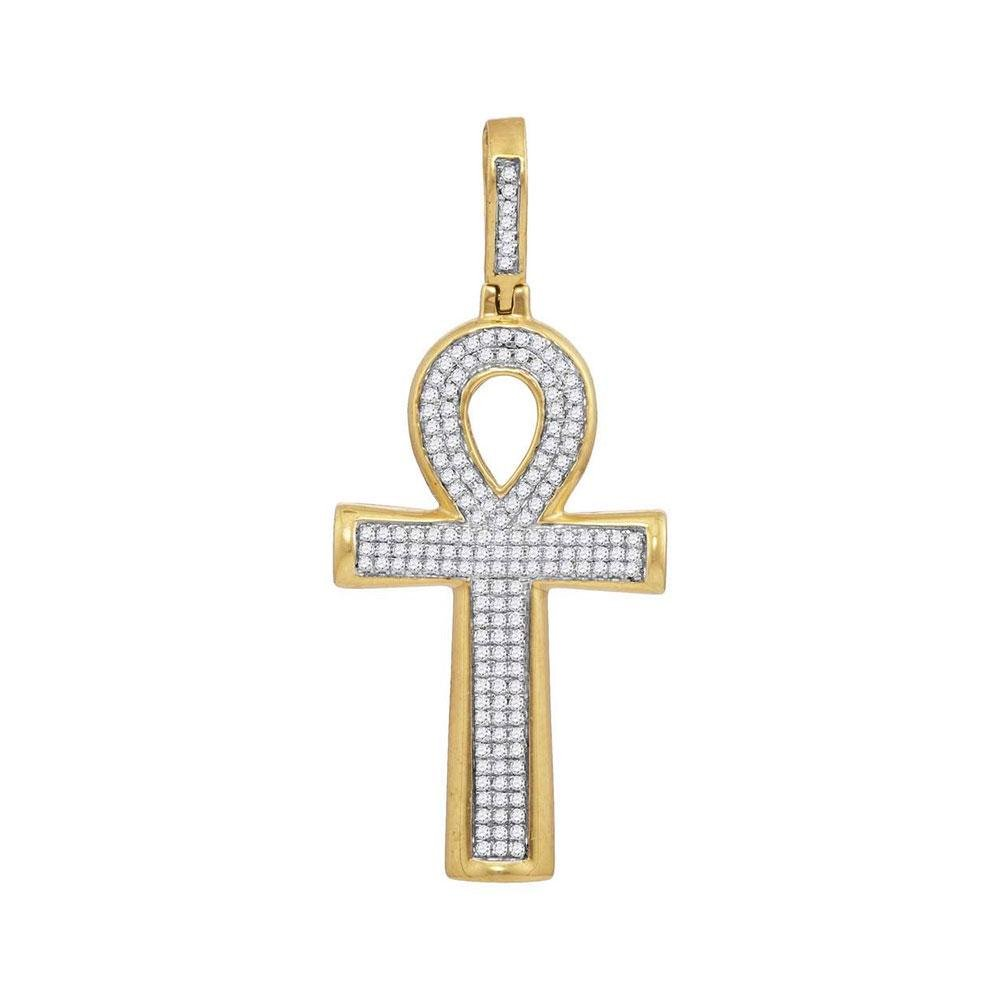 10kt Yellow Gold Mens Round Diamond Ankh Cross Charm
