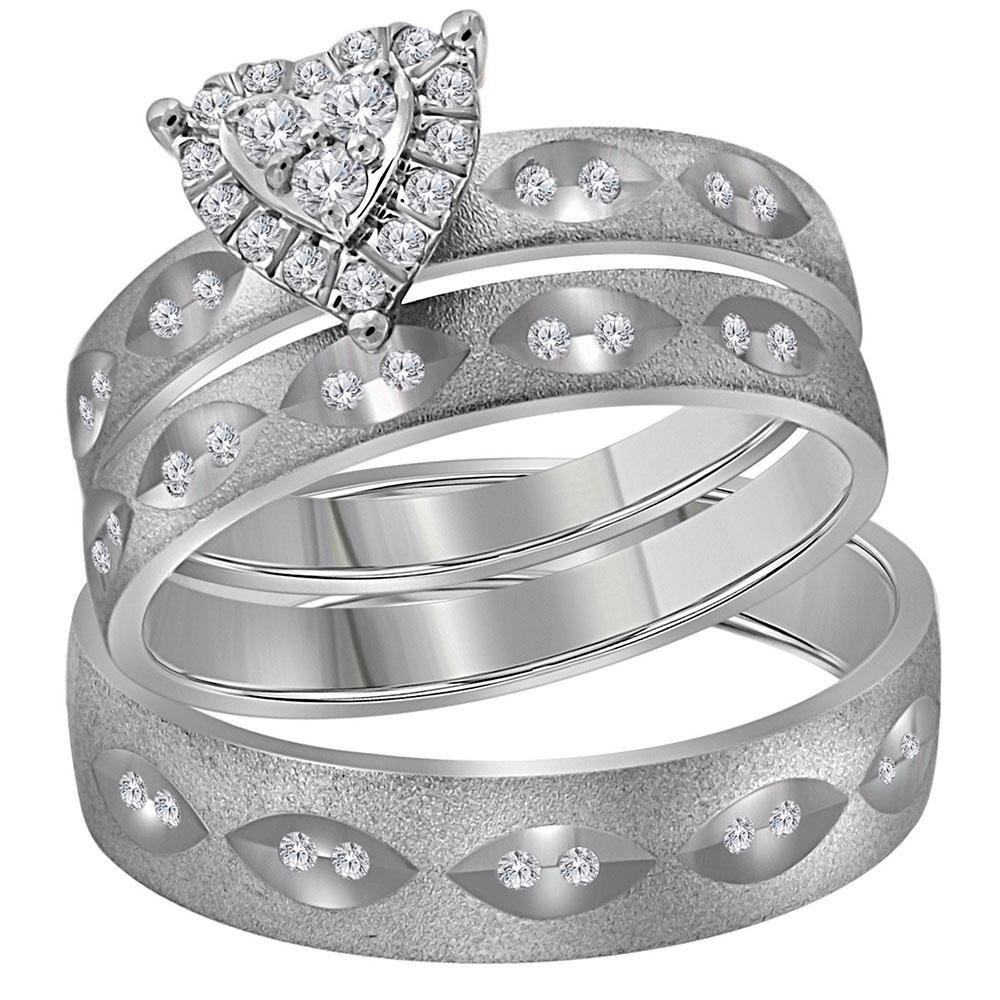14kt White Gold His & Hers Round Diamond Heart Matching