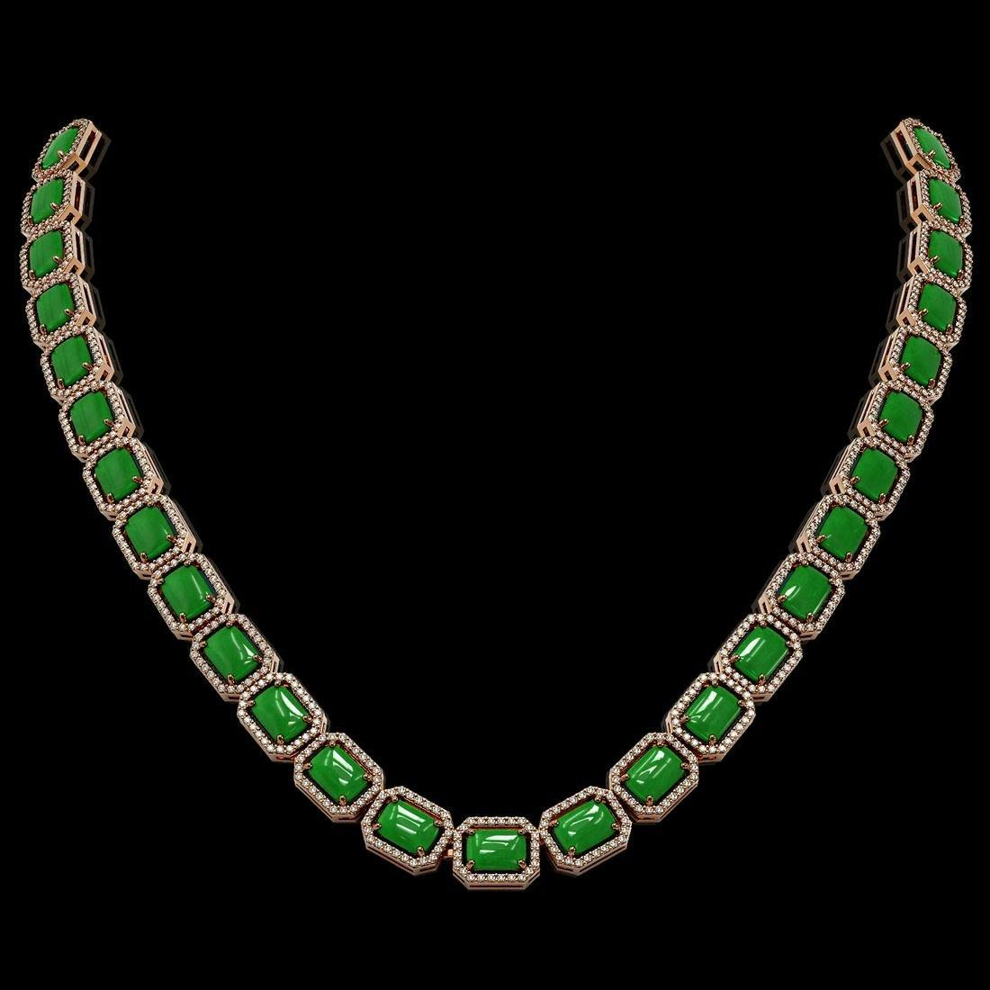 56.69 ctw Jade & Diamond Micro Pave Halo Necklace 10k