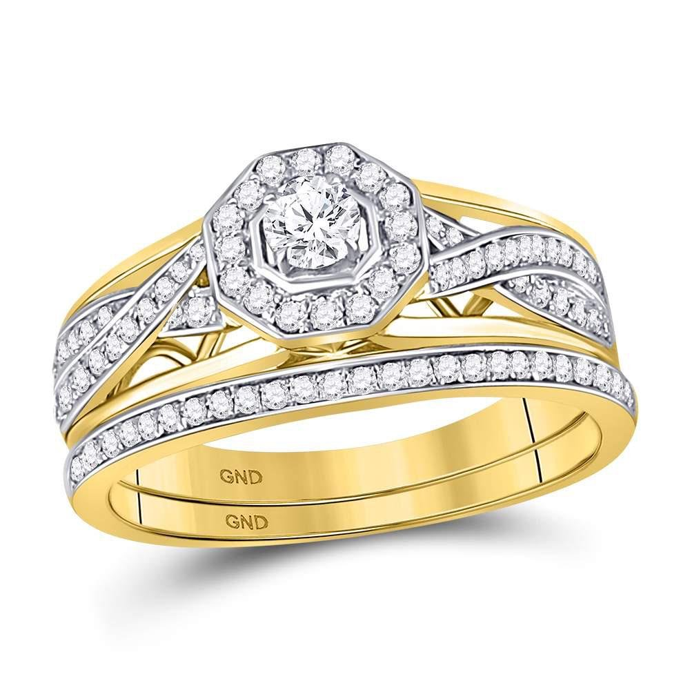 14kt Yellow Gold Womens Round Diamond Twist Bridal