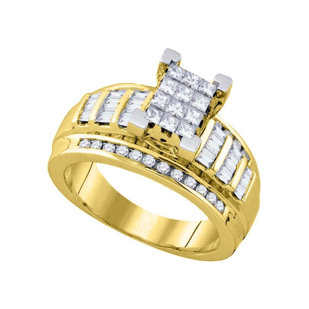 10kt Yellow Gold Womens Princess Diamond Cluster Bridal