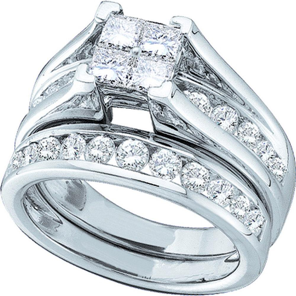 14kt White Gold Womens Princess Diamond Bridal Wedding