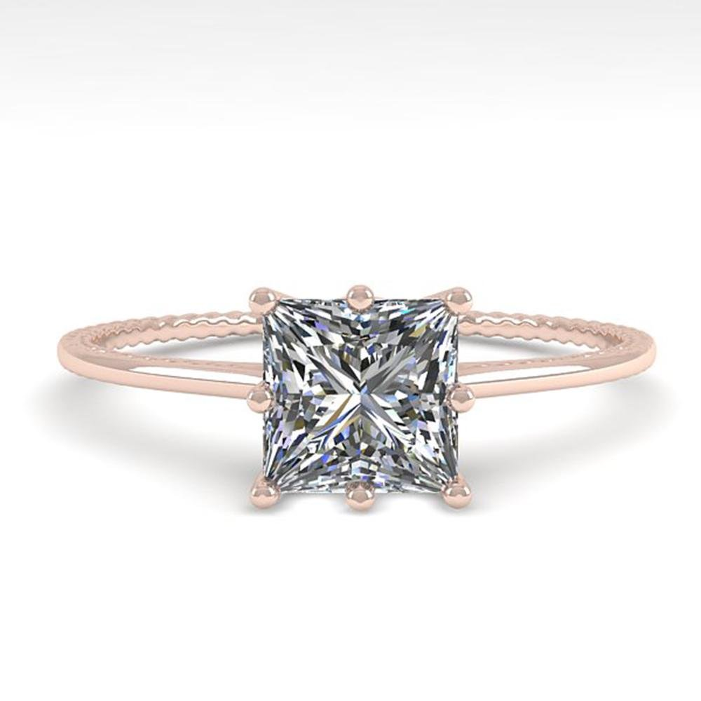 1.0 ctw VS/SI Princess Diamond Engagment Ring 18k Rose