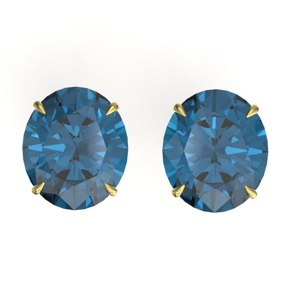 18 ctw London Blue Topaz Designer Stud Earrings 18k