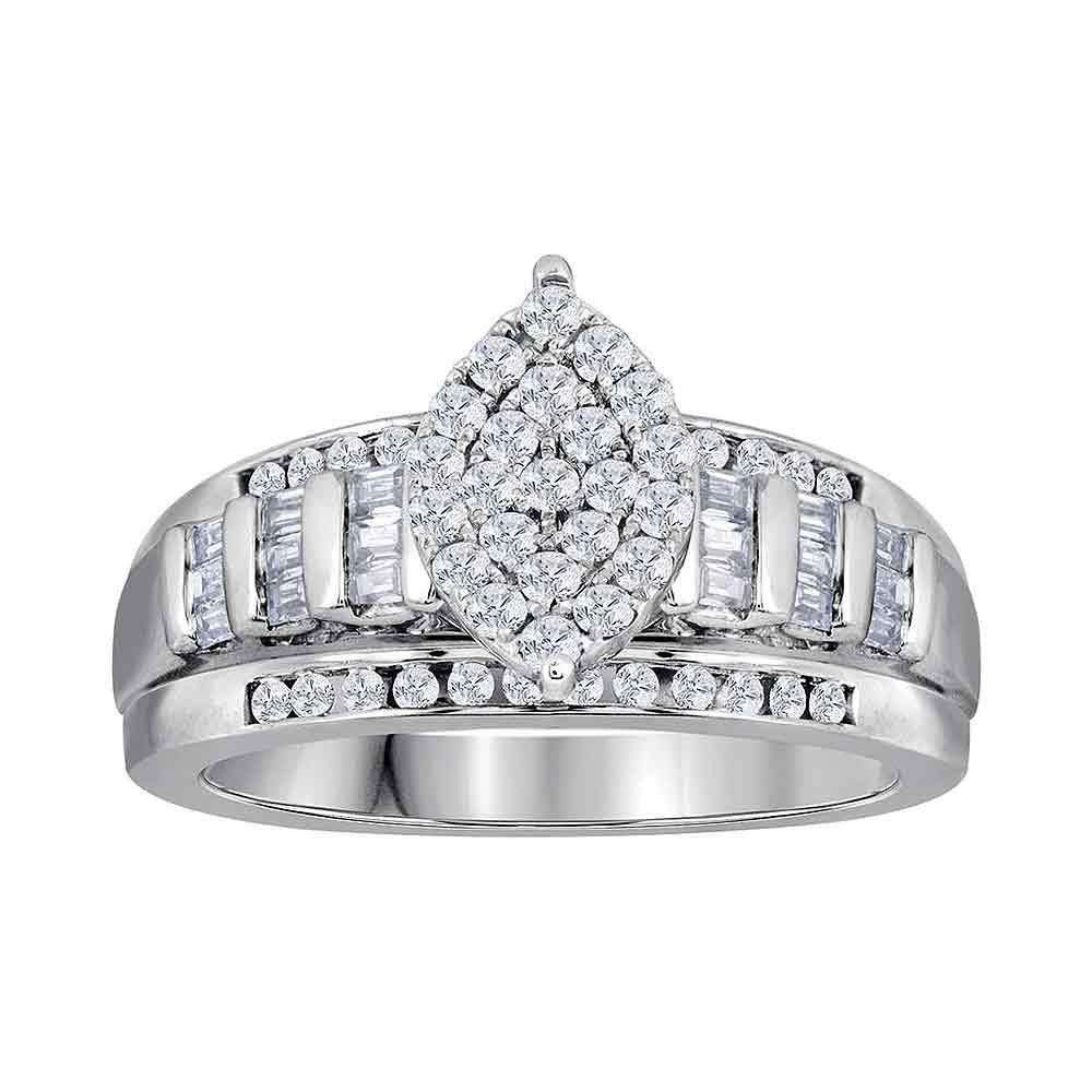 10kt White Gold Womens Round Diamond Oval Cluster