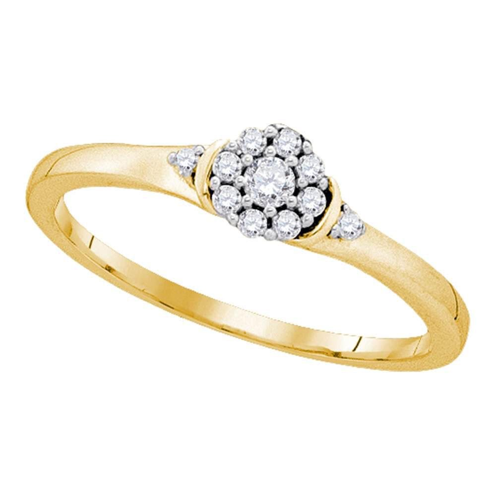 10kt Yellow Gold Womens Round Diamond Cluster Promise