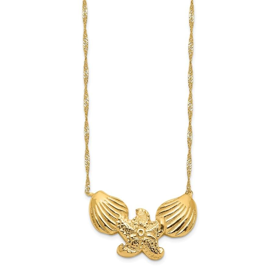 14k Yellow Gold Polished Shell Starfish Necklace - 16.5