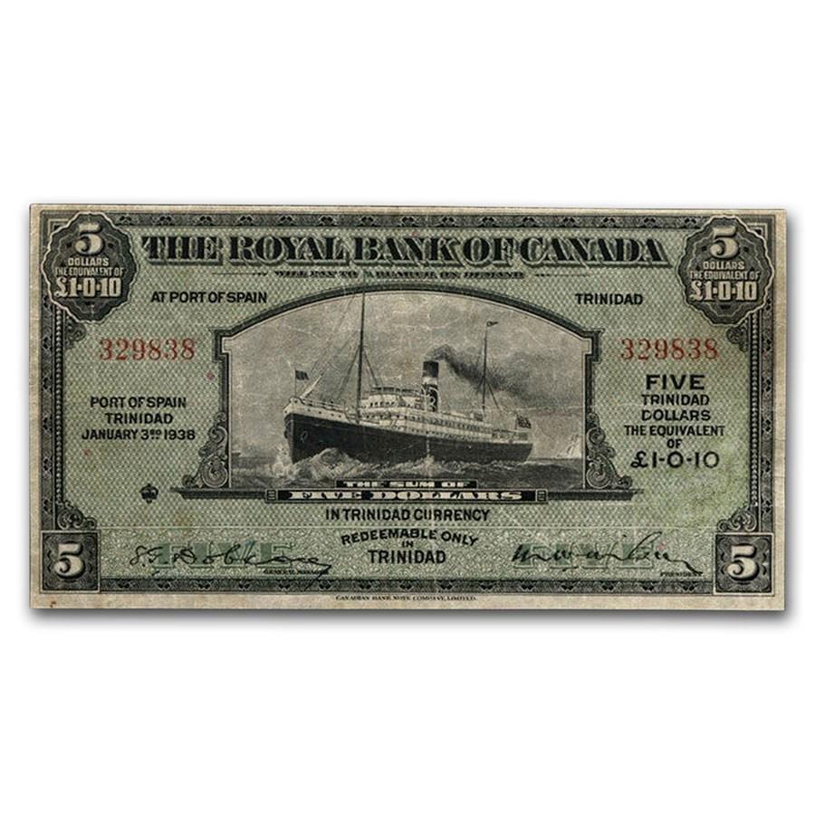 1938 Canada $5.00 Port of Spain, Trinidad VF-20 PMG