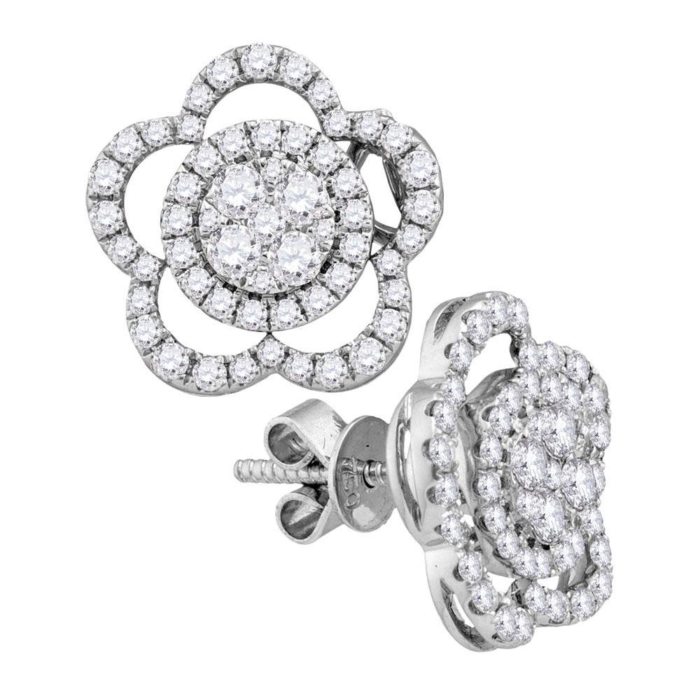 18kt White Gold Womens Round Diamond Convertible Star