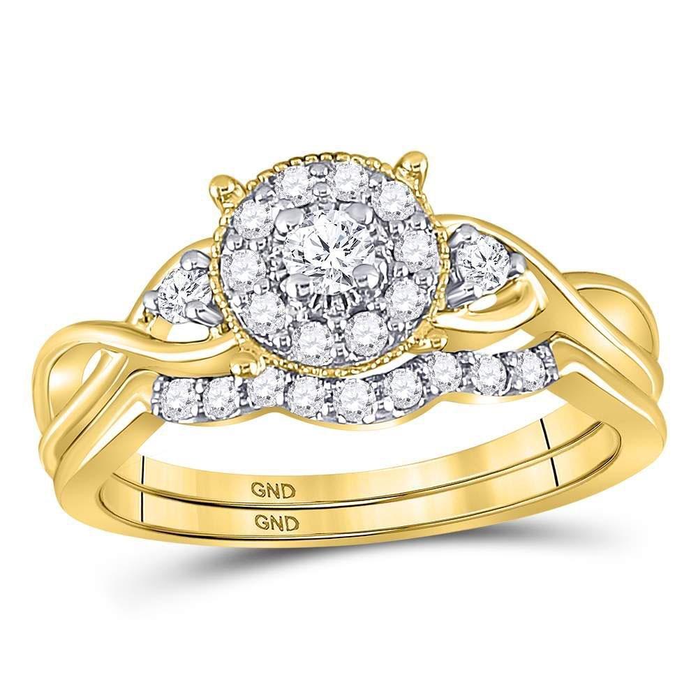 10kt Yellow Gold Womens Round Diamond Halo Twist Bridal
