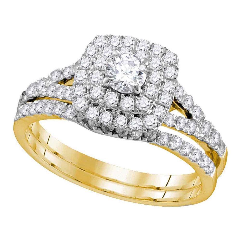 14kt Yellow Gold Womens Round Diamond Double Halo