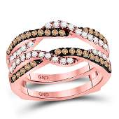 14kt Rose Gold Womens Round Brown Diamond Solitaire