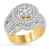14kt Yellow Gold Womens Round Diamond Cluster Bridal