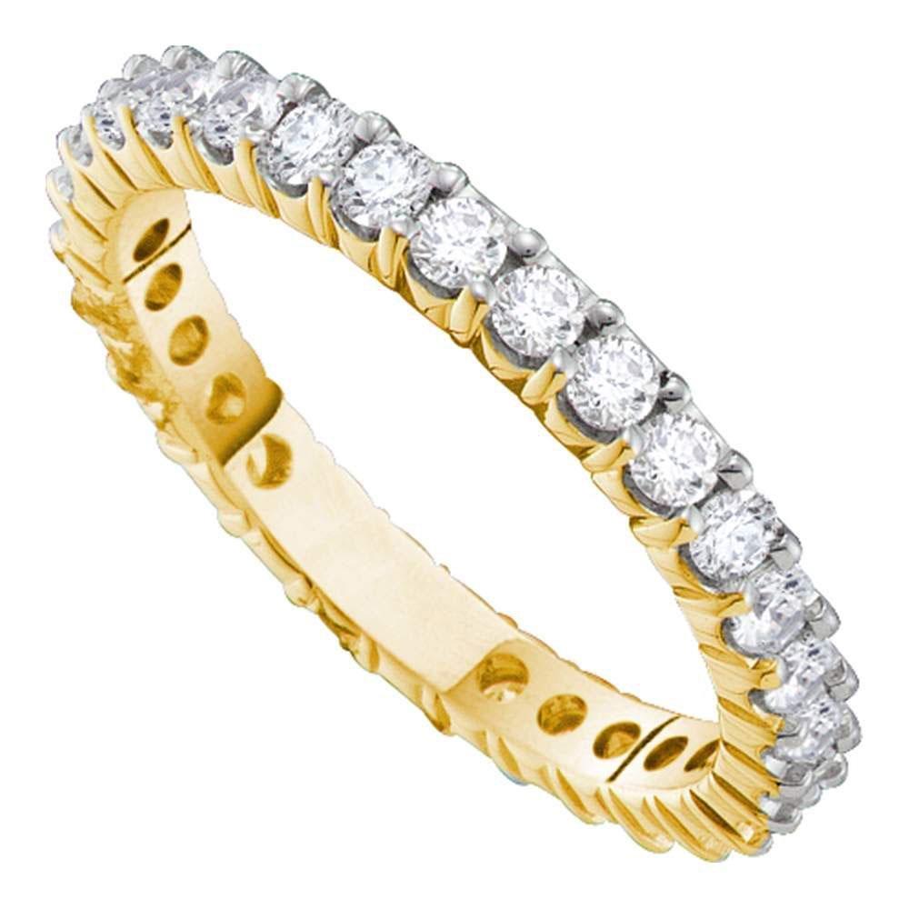 14k White Gold Womens Round Diamond Pave Wedding