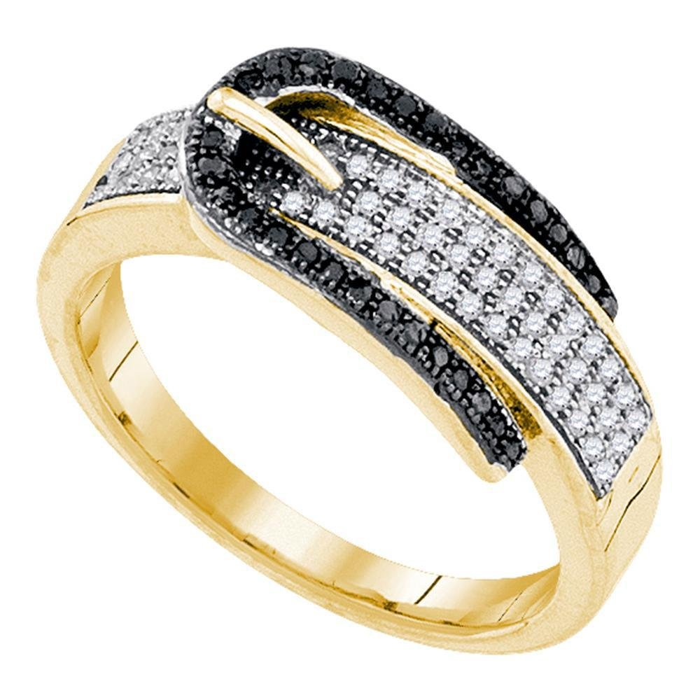 10kt Yellow Gold Womens Round Black Color Enhanced