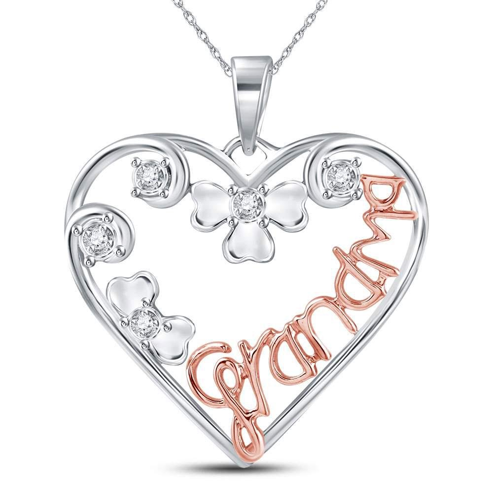 Sterling Silver Womens Round Diamond Grandma Heart Mom