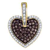10kt Yellow Gold Womens Round Brown Diamond Heart