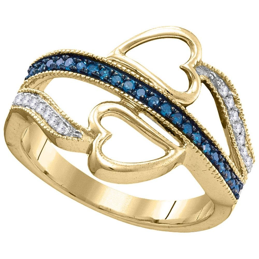 10kt Yellow Gold Womens Round Blue Color Enhanced