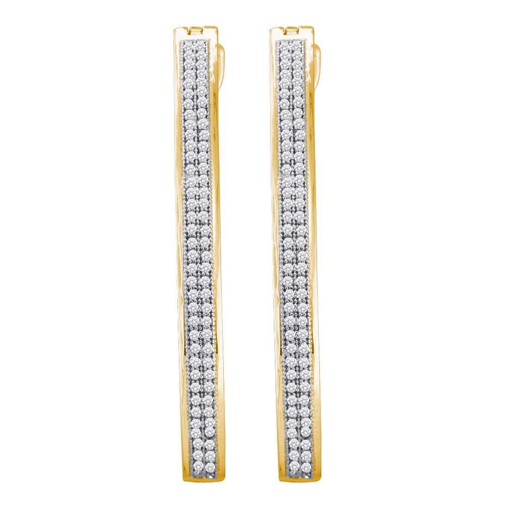10kt Yellow Gold Womens Round Diamond Slender Double