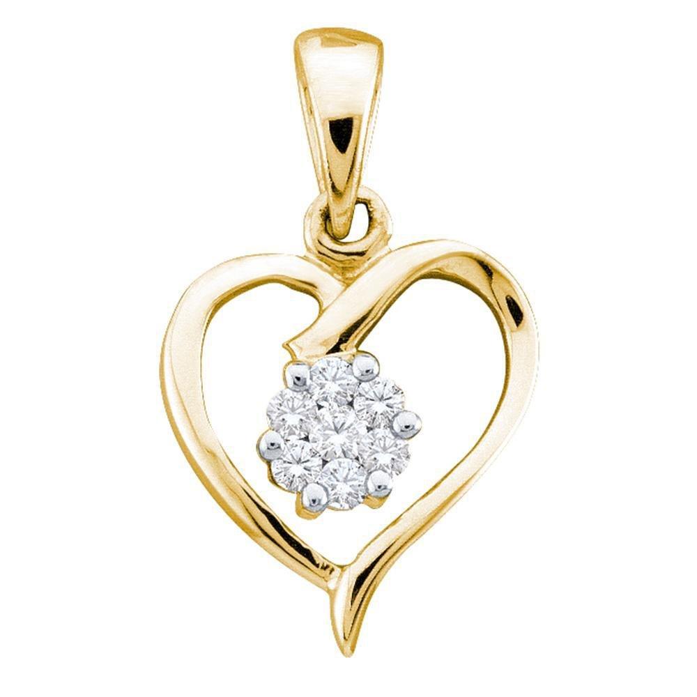 10kt Yellow Gold Womens Round Diamond Flower Cluster