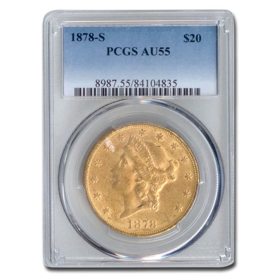 1878-S $20 Liberty Gold Double Eagle AU-55 PCGS