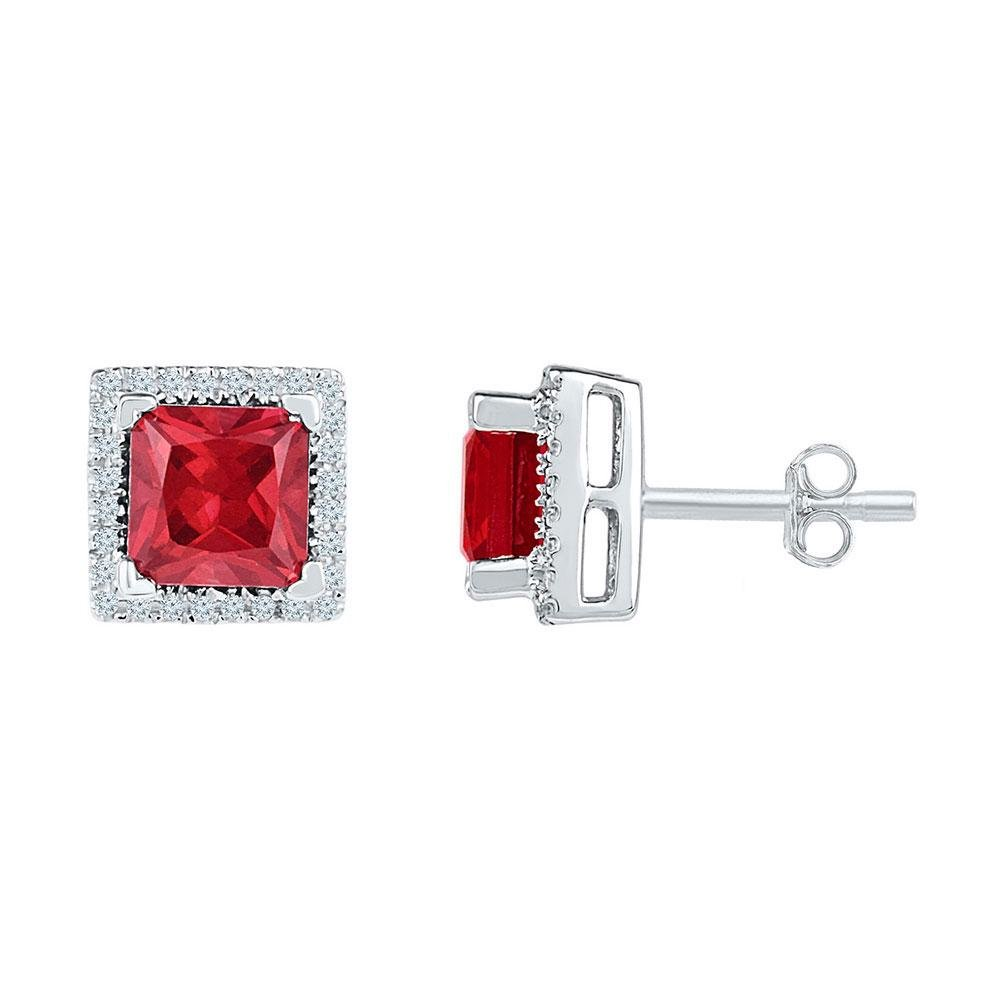Sterling Silver Womens Princess Lab-Created Ruby Stud