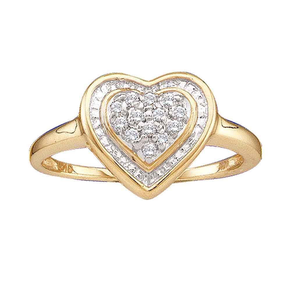 14kt Yellow Gold Womens Round Diamond Heart Frame