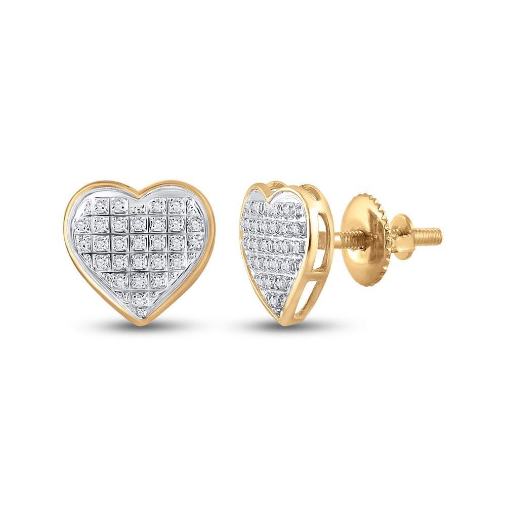 10kt Yellow Gold Womens Round Diamond Heart Cluster