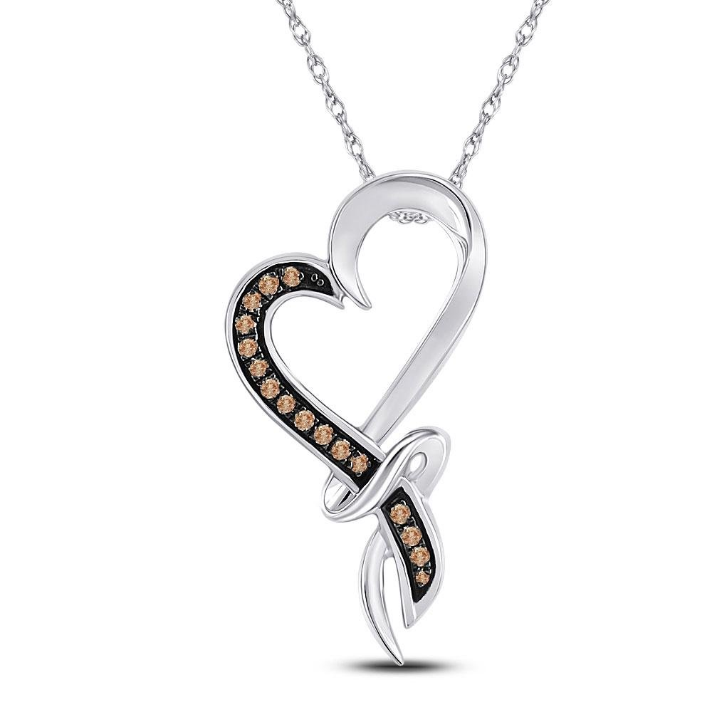 10kt White Gold Womens Round Brown Diamond Heart