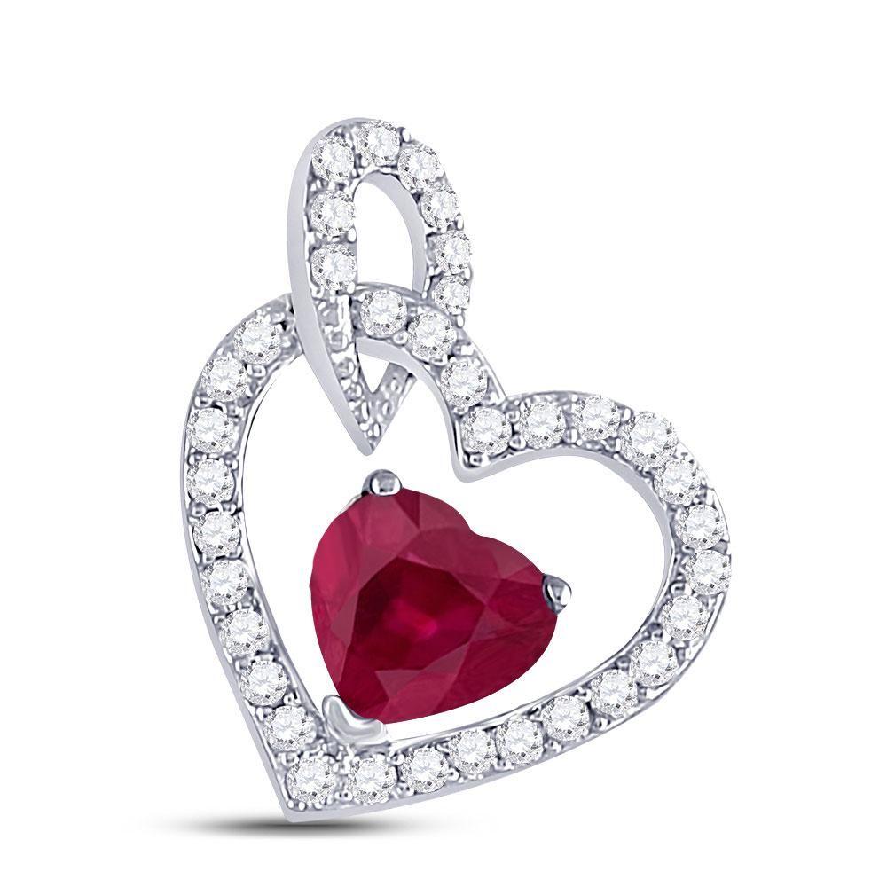 10kt White Gold Womens Heart Ruby Diamond Fashion