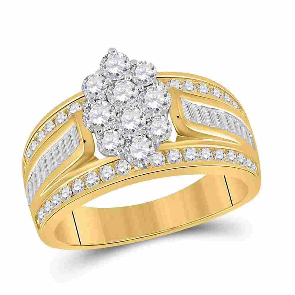 14kt Yellow Gold Womens Round Diamond Cluster Ring