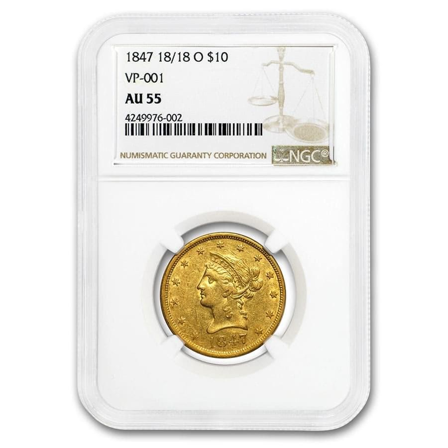 1847-O $10 Liberty Gold Eagle AU-55 NGC (18/18 VP-001)