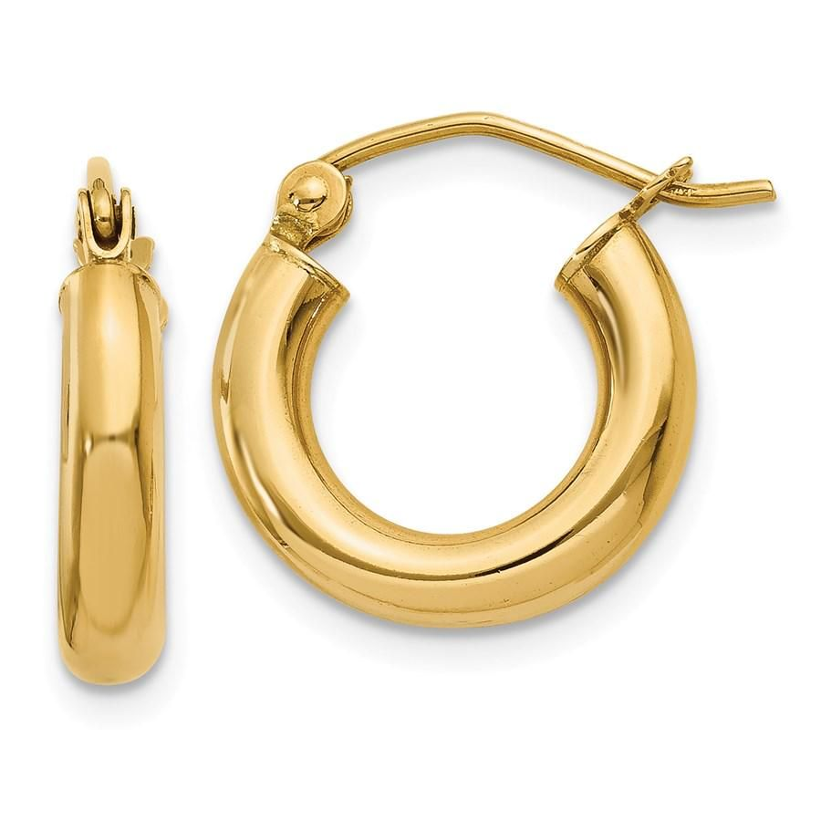 14k Polished 14 mm Lightweight Round Hoop Earrings