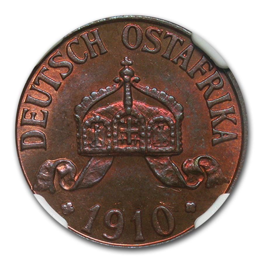1910-J German East Africa Bronze 1 Heller MS-65 NGC