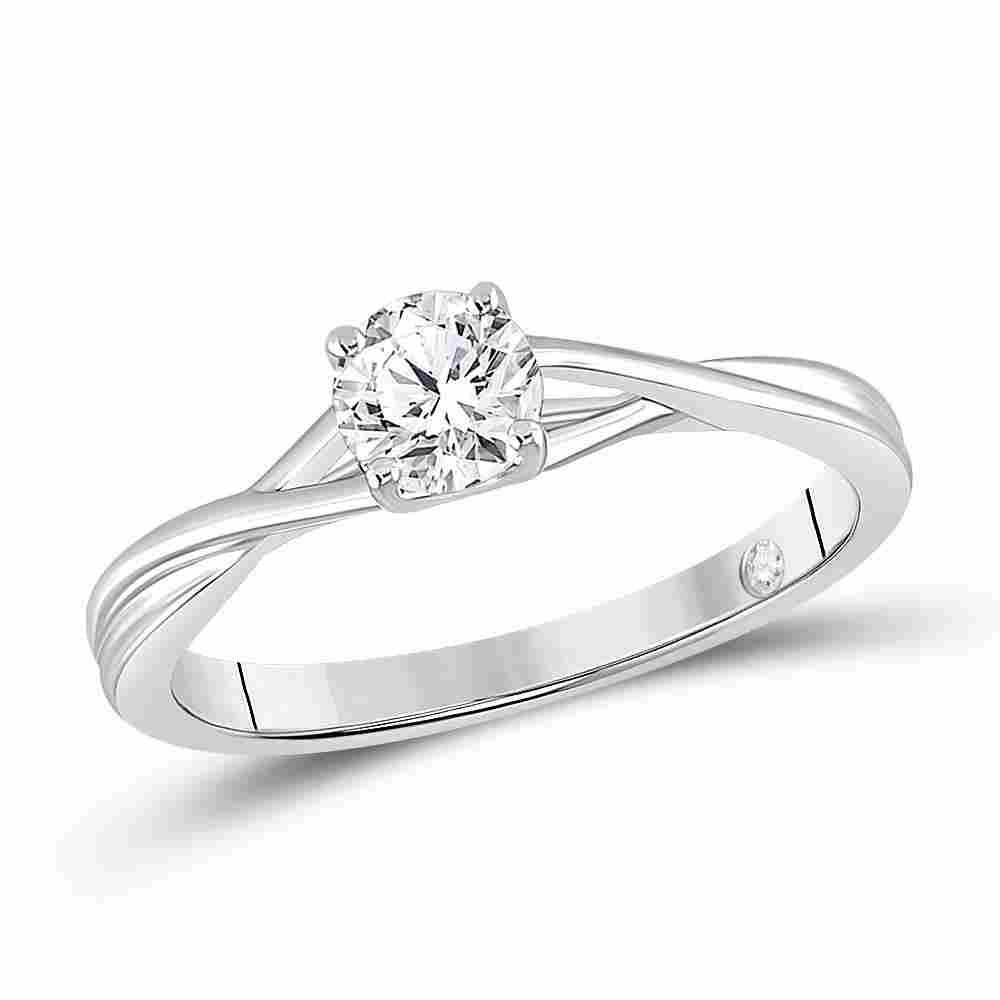 14kt White Gold Womens Round Diamond Solitaire Bridal
