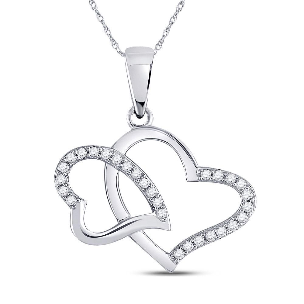 10kt White Gold Womens Round Diamond Double Heart