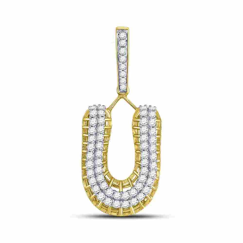 10kt Yellow Gold Mens Round Diamond U Letter Charm