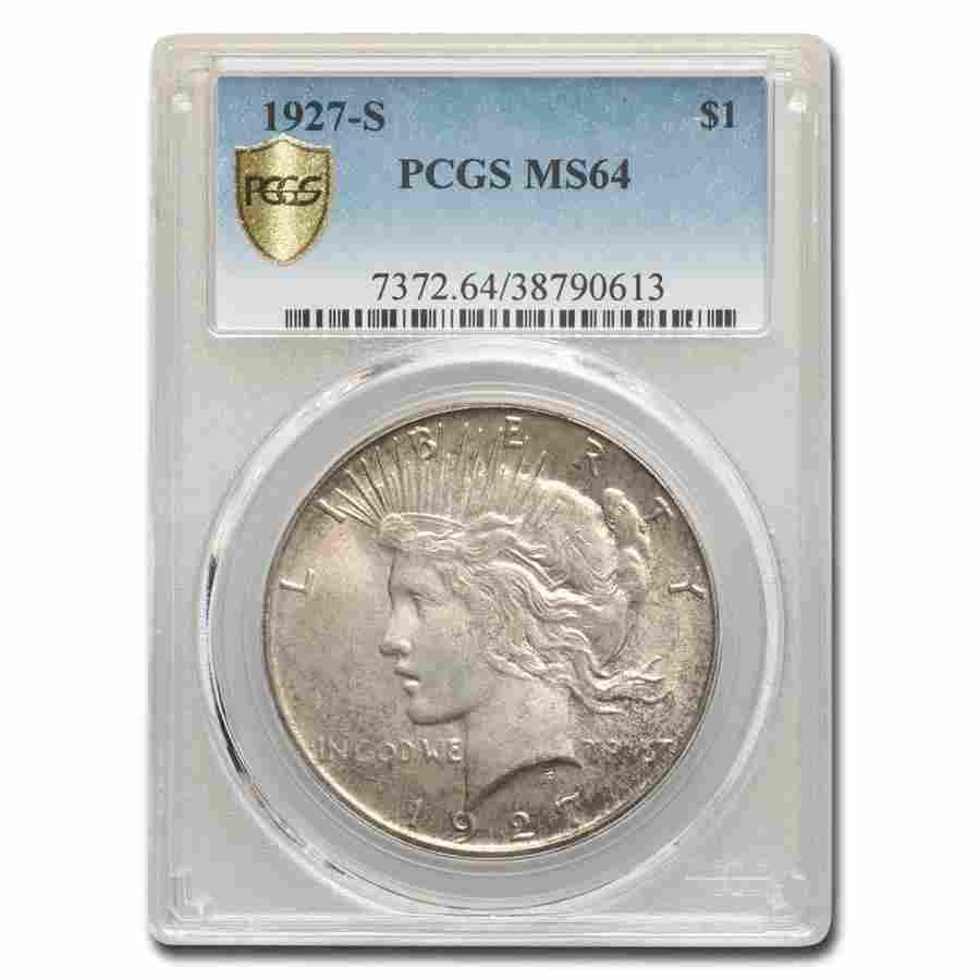 1927-S Peace Dollar MS-64 PCGS