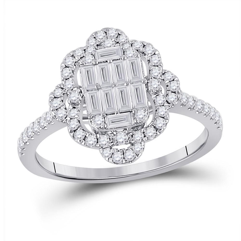 14kt White Gold Womens Baguette Diamond Fashion Ring
