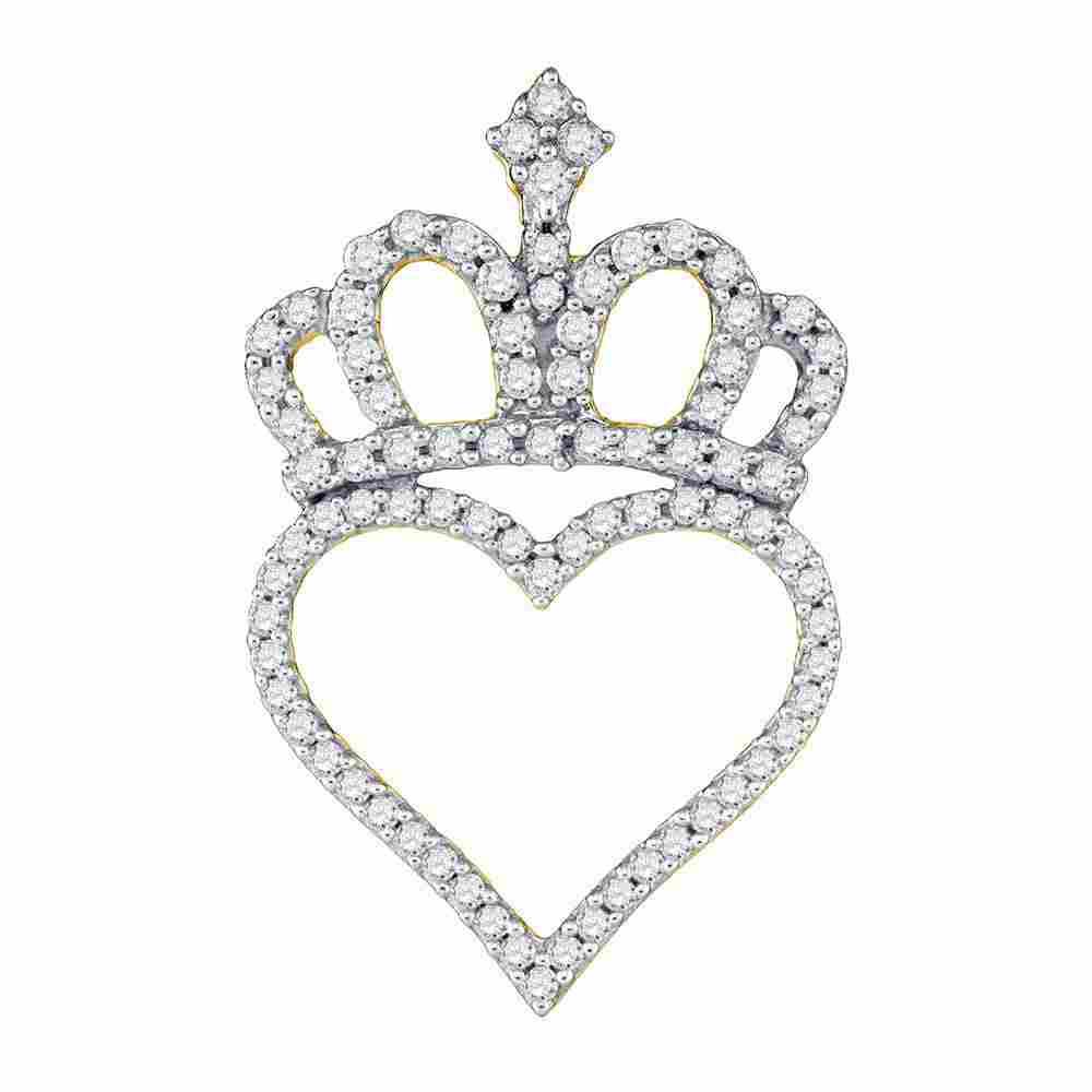 10kt Yellow Gold Womens Round Diamond Crown Heart
