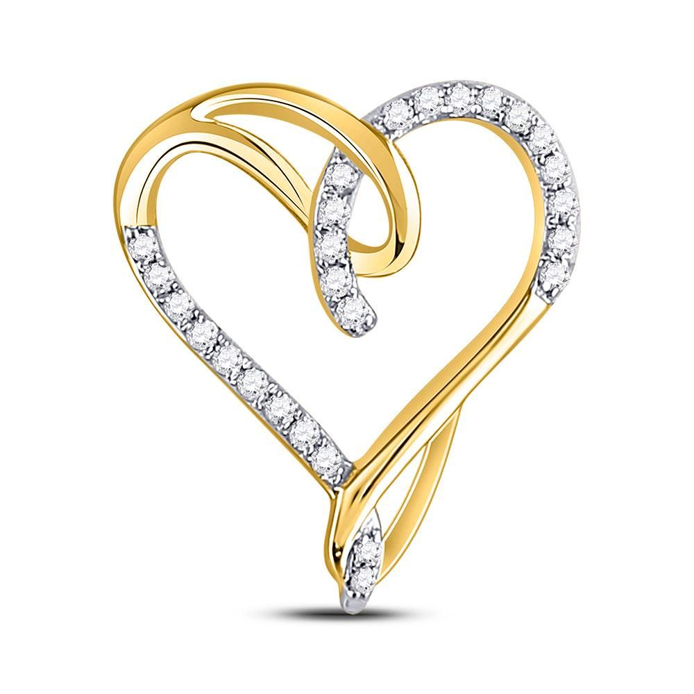 10kt Yellow Gold Womens Round Diamond Heart Pendant 1/8