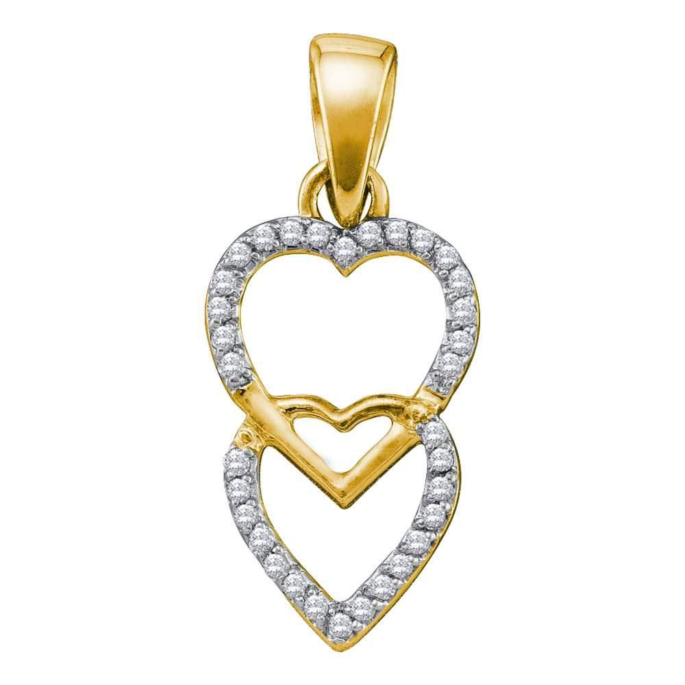 10kt Yellow Gold Womens Round Diamond Double Heart
