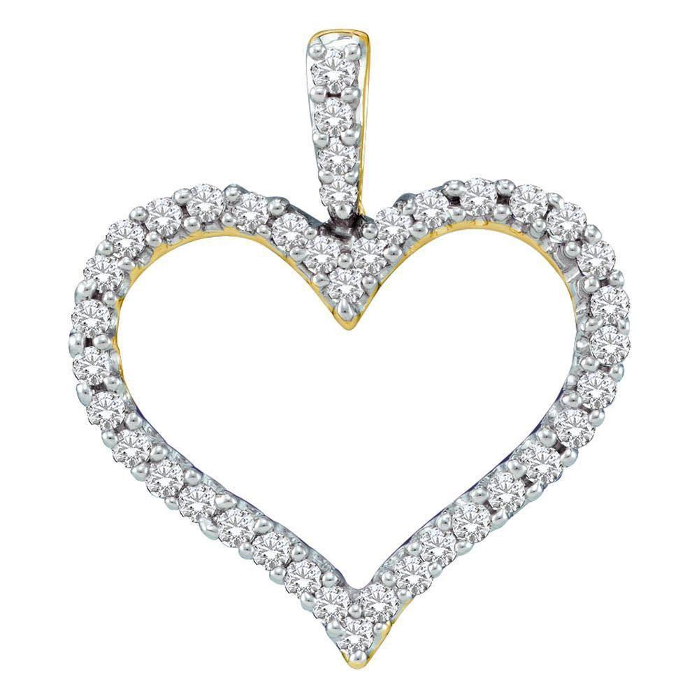 14kt Yellow Gold Womens Round Diamond Classic Heart